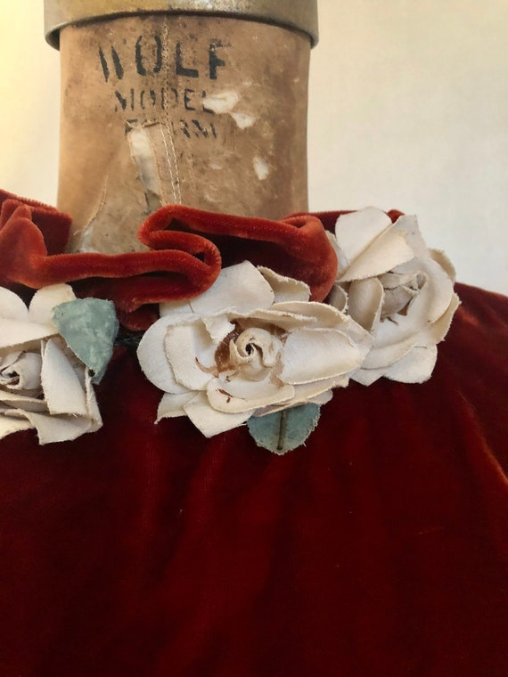 1930s deep brick velvet cold shoulder maxi dress … - image 1