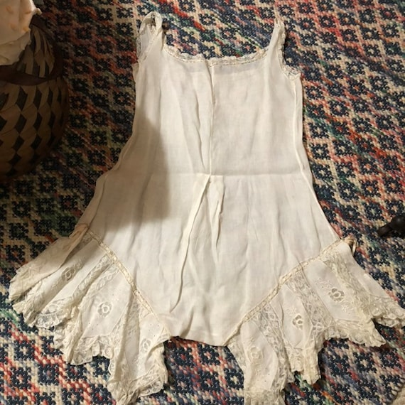 Antique white cotton and lace combination undergar