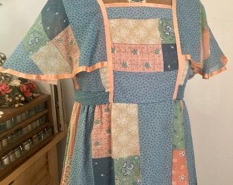 1970s vintage patchwork flutter sleeve maxi dress boho Sz sm