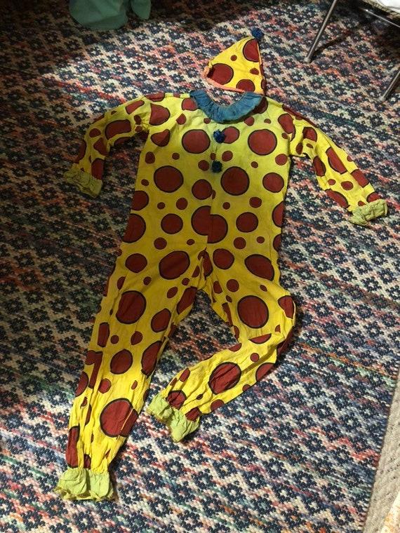 1920s clown costume /jumpsuit with hat sz xs/s