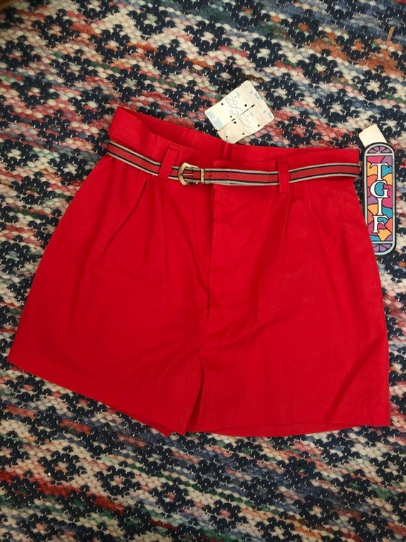 Xs/s Deadstock 1970s red poly/cotton shorts sz 9