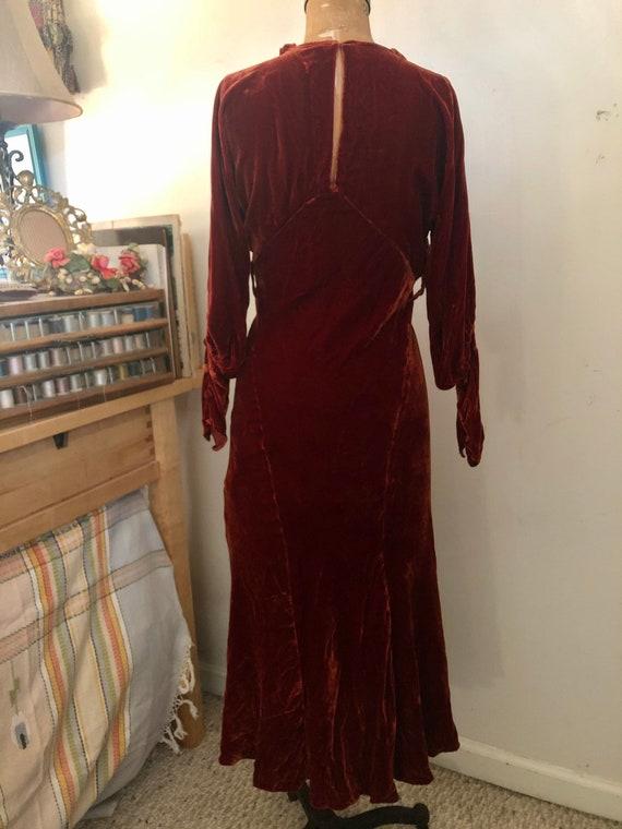 1930s deep brick velvet cold shoulder maxi dress … - image 5