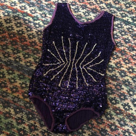1960s purple sequin showgirl pinup bodysuit leotar