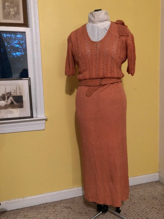 1930s Peach crochet/ knit midi maxi dress Sz S-M