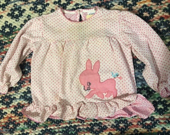 1970s toddler/kids longsleeve pink horse top 12/18/24/2t