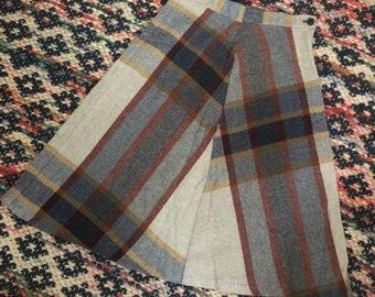 1970s A-line wool plaid girls skirt sz 10/12