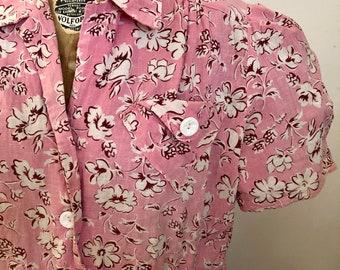 1930s pink floral cotton feedsack shirt dress xs-xl