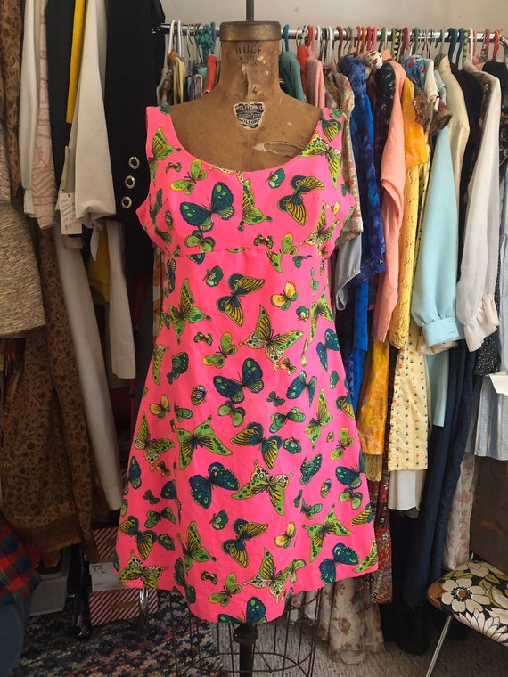 1960s hot pink butterfly mini dress with built-in