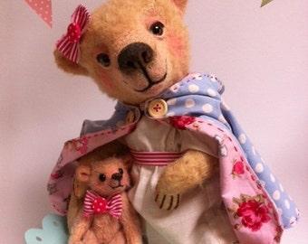 Cupcakebears Roos , artist bear, mohair bears, needle felted bear, teddybear, handmade bear..