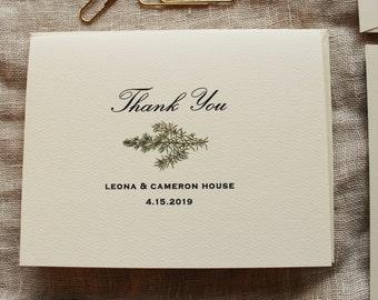 Fern Wedding Thank You Card Set Greenery Wedding Thank You Etsy