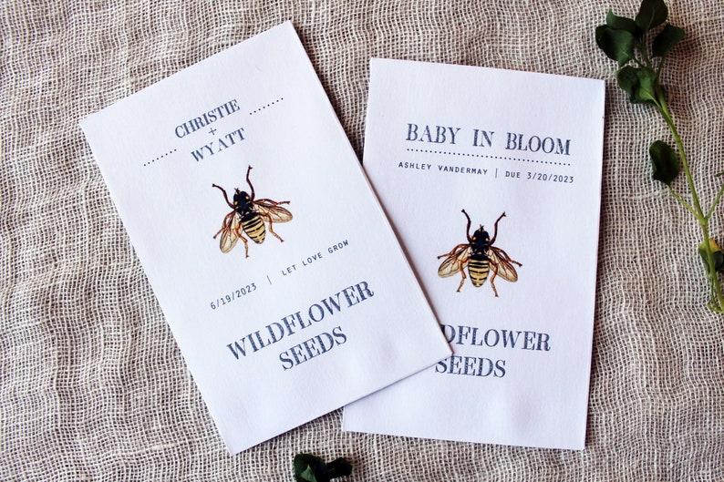 Bee Wildflower Seed Packet Envelopes  Flower Seed Envelopes  image 1