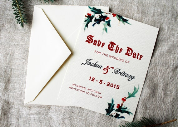 Christmas Save The Date Cards.Christmas Wedding Save The Date Cards Mistletoe Wedding Suite Holiday Save The Date Handmade December Wedding Save The Date Download