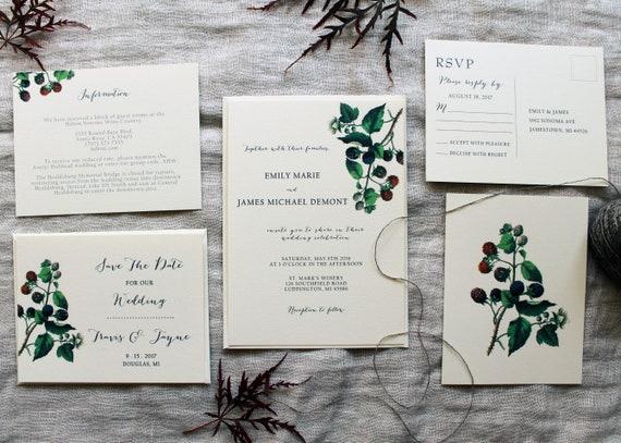 Printable Digital Download PDF Berry Invite Wedding Suite Invite Menu Seating Plan PDF Watercolour Berry Wedding Sign Berry Wedding