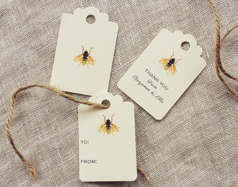 Bee Favor Tags  Bee Wedding Favor Tags Personalized  image 0