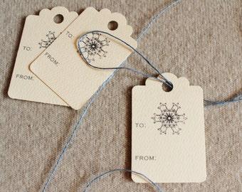 Holiday Gift Tags Snowflake Christmas Scalloped Hang Tags