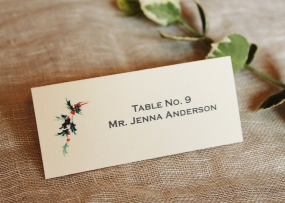 Christmas Place Card Winter Wedding Table Name Cards Etsy