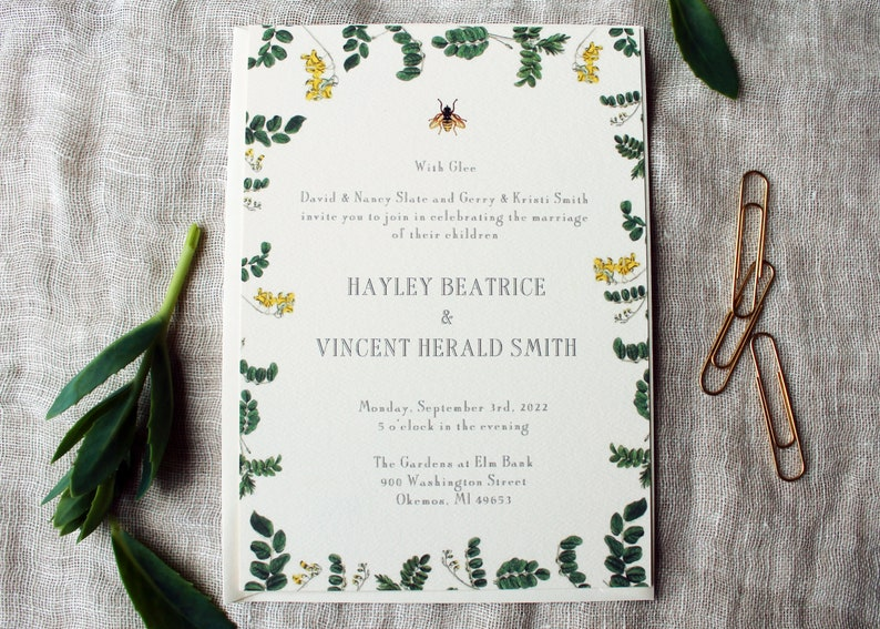 Bee Wedding Invitation Suite  Honey Bee Wedding Invitation image 0