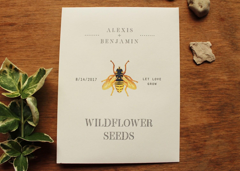 Honey Bee Wildflower Seed Envelopes Seed Packet Favors