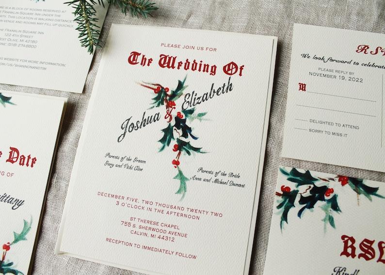Christmas Wedding Invitation Set Winter Wedding Invitation Digital Holiday Wedding Invitations Handmade Mistletoe Decor