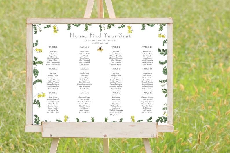 Bee Greenery Wedding Seating Chart  Seating Chart Template  image 0