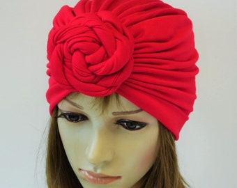 Red top knotted turban hat 5fd7212bd