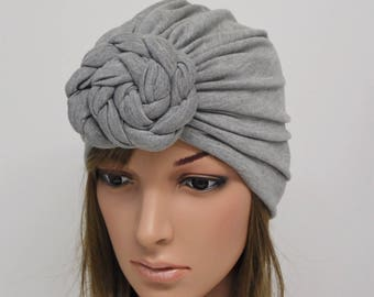 Grey turban hat 41e18b254ae