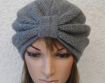 ed22f8afcc2 Grey turban hat for women