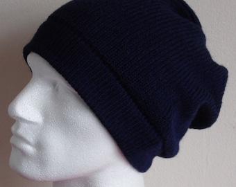 Knit slouchy hat for men, handmade men's beanie, men's hat, navy blue hat for men, beanie for men, slouch hat for men