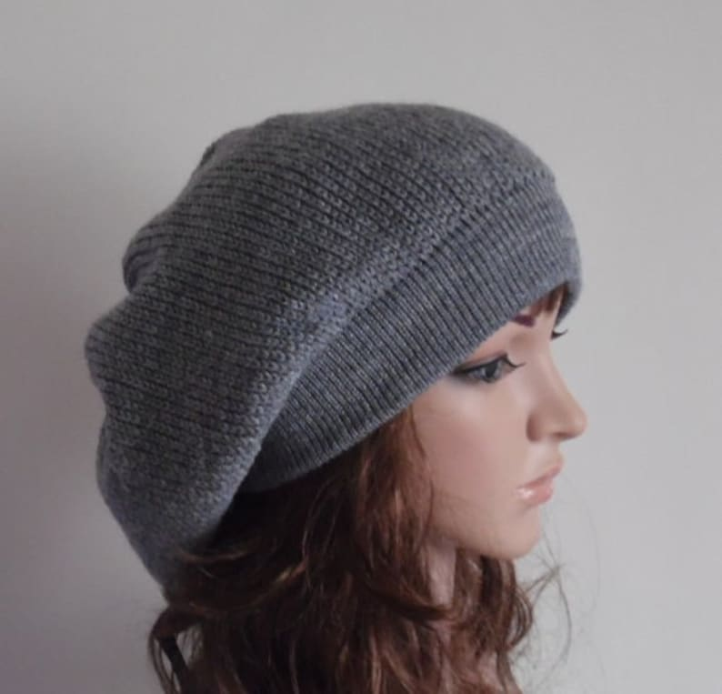 29c27404823 Knit baggy beanie knitted beret handmade hat for women
