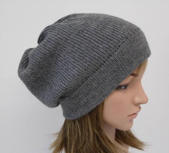 Grey slouchy beanie women beanie hat alpaca wool beanie  72d2c48af31