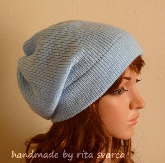 499b58f7a4e Sky blue slouchy hat handmade slouchy beanie women s
