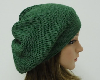 Knit Beret , Slouchy Beanie, Knitted Hat, Slouch Hat, Tam, Baggy Beanie, knitted from alpaca/wool/polyamide blend knitting yarn