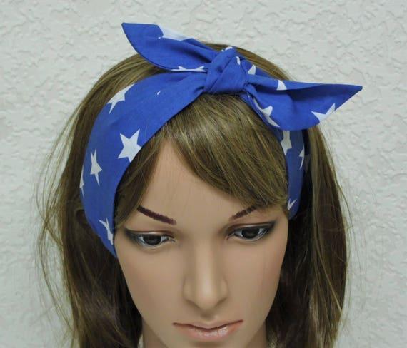 Sonderrabatt Kaufen riesige Auswahl an Stirnband, blau haarschal, Haar-Halstuch, Rockabilly Stirnband binden,  pin-up Haargummi, Kopftuch, Stirnband, Kopftuch selbst binden