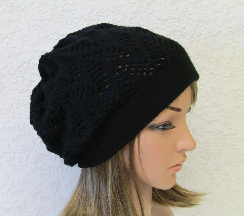 969e34edd58 Black knit beret knitted hat for women handmade women beret