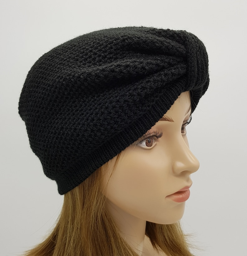 knitted from acrylic Black turban knitted hat fashion turban handmade hat for women knitted women/'s turban hat