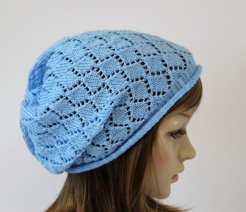 00662127ef1 Knit beanie lace hat for women slouchy beanie handmade