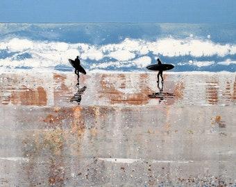 Print of Surfers at Polzeath Beach, Seascape of Cornwall UK, Surfing Beach UK, Prints, Paper Custom Sizes, Ocean Artwork, Made in England UK