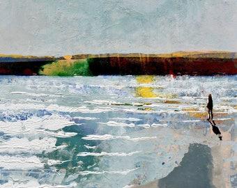 COASTAL ART, Live As You Dream, Rock, Cornwall by Artist Melanie McDonald, Print of Woman on the Beach at the Camel Estuary.