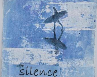 "SMALL ORIGINAL PAINTING - ""Night Tide, Constantine Bay, Cornwall"" by Melanie McDonald - original art - surfer painting - blue painting"