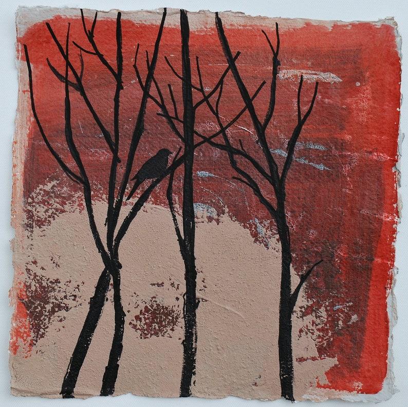 Original Painting Handmade Art Winter Sunset image 0