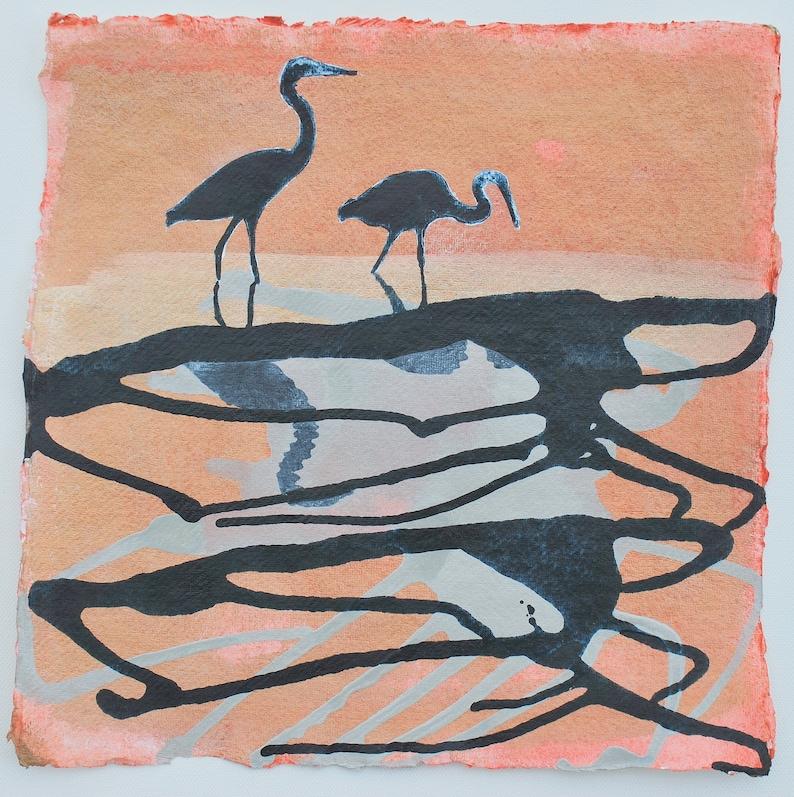 HERON PAINTING Original Painting of Herons Sunrise image 0