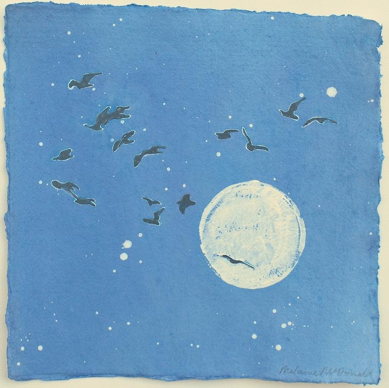 Original Painting Moon Art Nightfall Magic  Gulls and image 0
