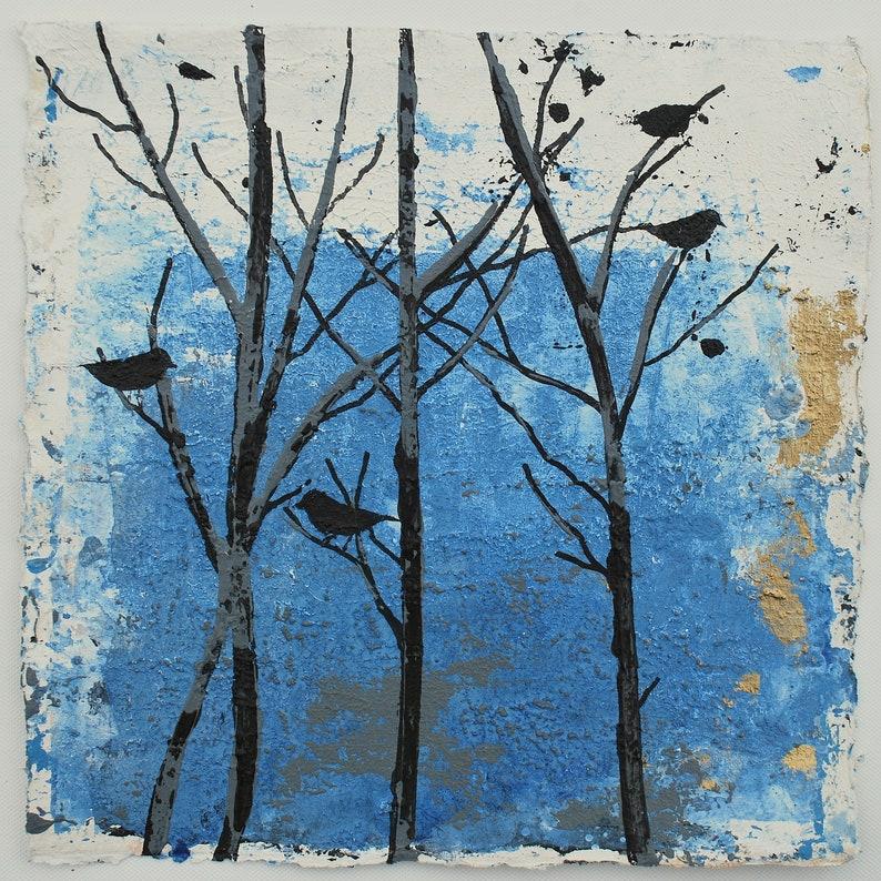 Unique Decor Winter Solstice Birds Painting an Original image 0
