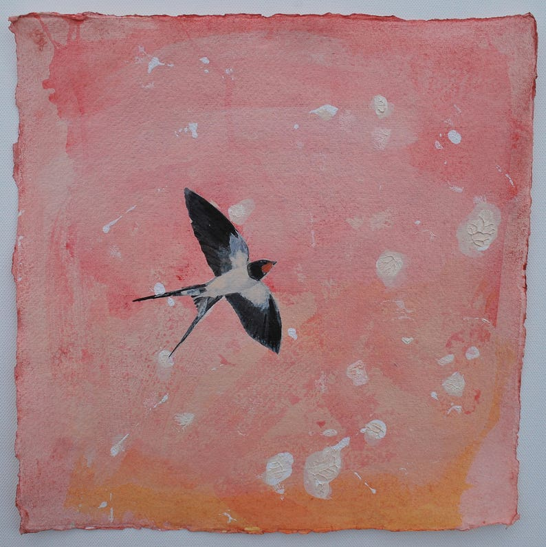 ORIGINAL PAINTING  SWALLOW  The first swallow by image 0