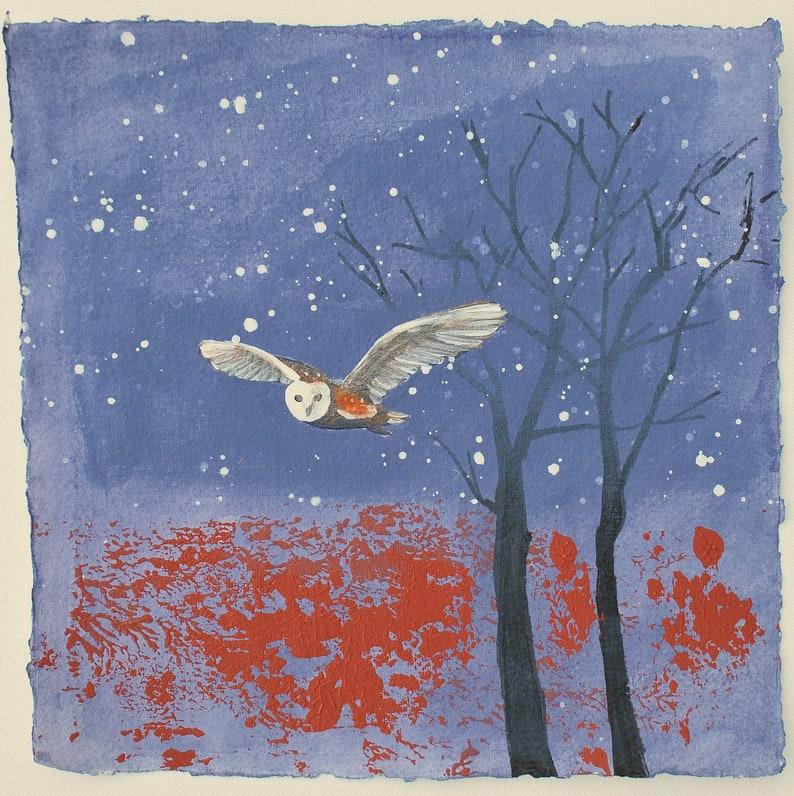 Owl Painting Original Art Bird Artwork Small Wall Art image 0