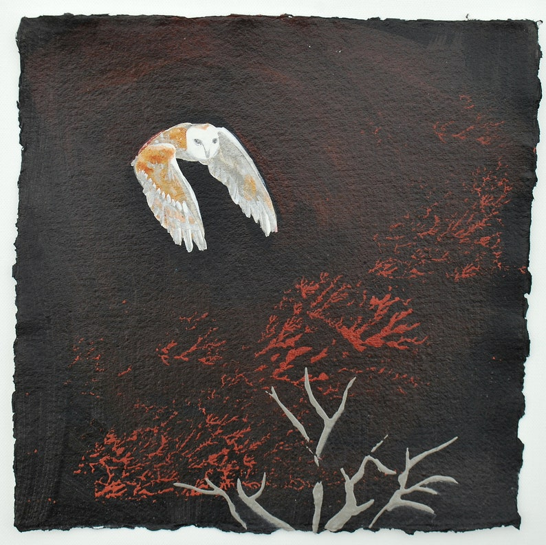PAINTING of an Owl Autumn Night Owl by Melanie image 0