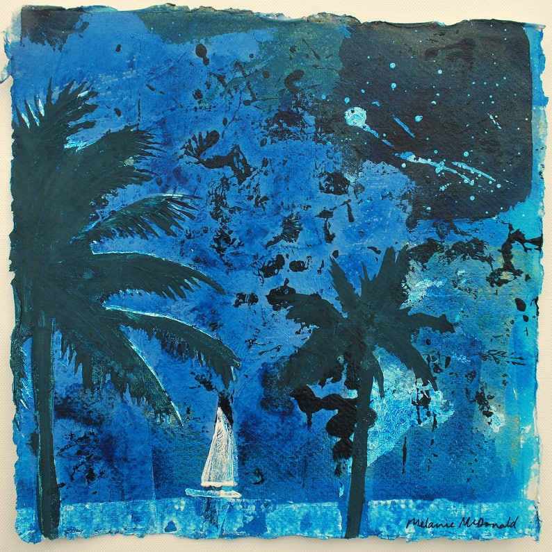 Summer Night Sail  ORIGINAL PAINTING  night painting  palm image 0