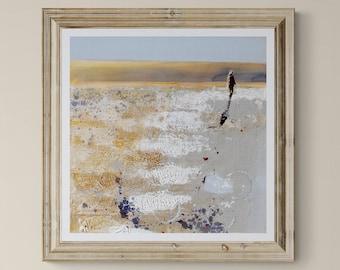 COASTAL Wall Art, Beach Walk, Cornwall Art, Woman On Beach, Cornwall Artist Print of Painting, Golden Morning Walk Near Rock In Cornwall