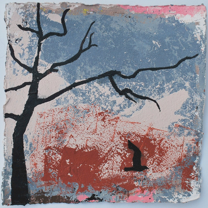 Original Art  Winter Painting Pink and Grey image 0