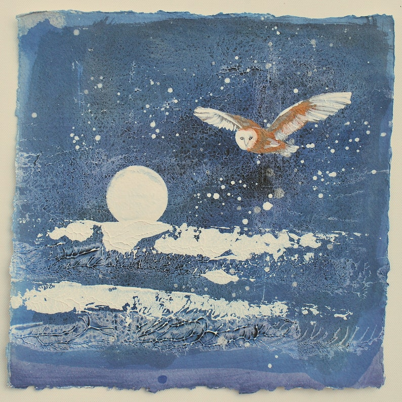 PAINTING of an owl Magical Night Owl and Full image 0